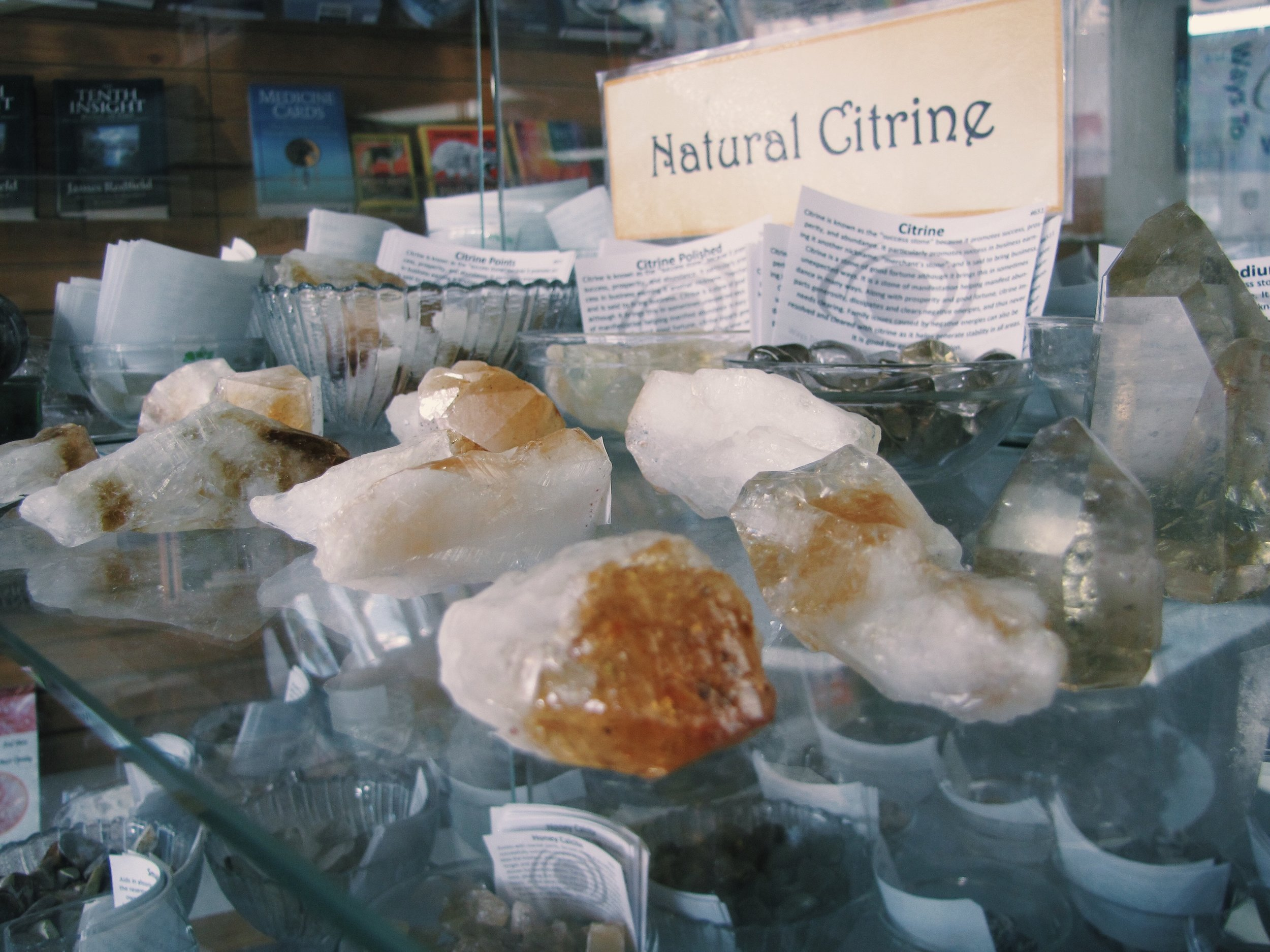 Citrine is a sunny little crystal. It carries the power of the sun. It is very warm, comforting, and life giving. It's frequency awakens creativity and imagination. It sustains the process of transforming dreams into reality.