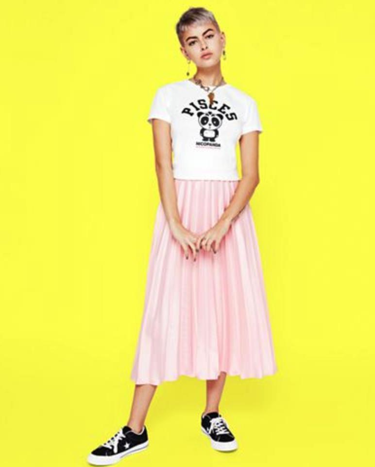 NICOPANDA Pleated Midi Skirt: $89. Here