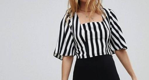 ASOS: Miss Selfridge Balloon Sleeve Square Neck Stripe Crop Top $28   here