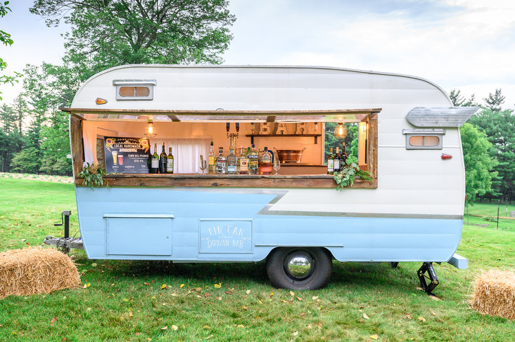 Nellie - This 1964 camper has been lovingly converted into a full bar complete with 2 taps.