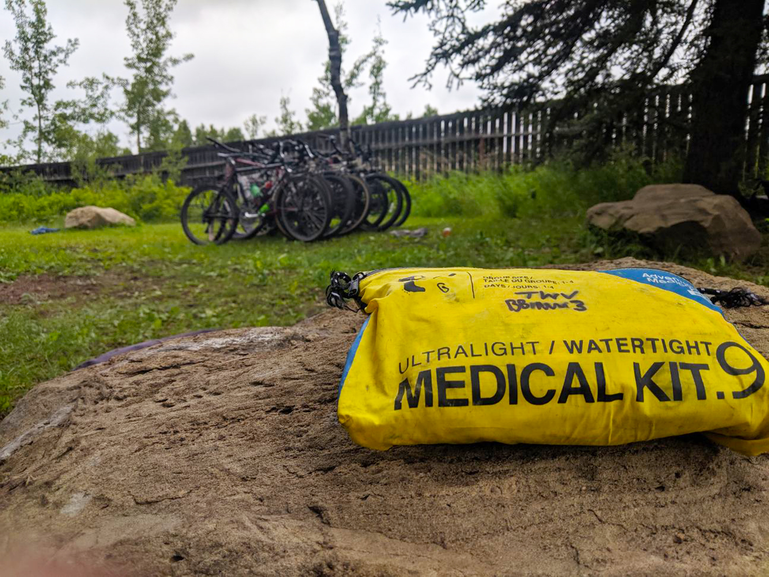 Displayed is Adventure Medical Kits Ultralight/Watertight .9 Medical Kit provided to Trips for Kids chapters. This is one of two kits the chapters receive.  Photo courtesy of Trips for Kids Calgary (Canada) sponsored by Two Wheel View.