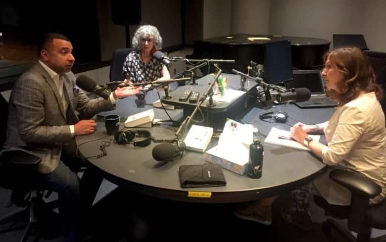 Majed El Shafie & Mavis Himes discuss the plight of Yazidi survivors with The Current's Anna Maria Tremonti.(Pacinthe Mattar/CBC)
