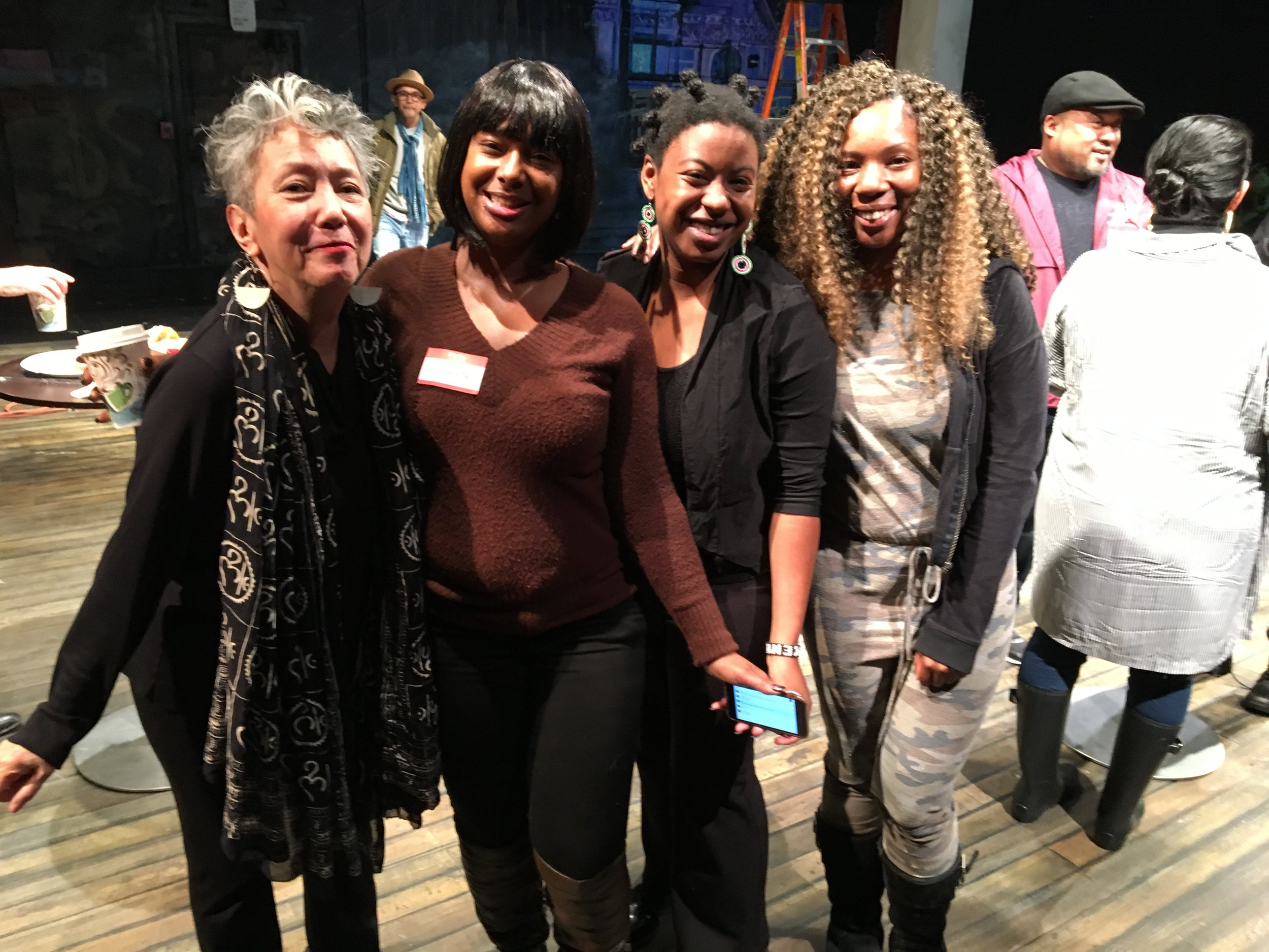 "Jessica Hagedorn with Laney College students at the rehearsal of ""The Gangster of Love,"" which will premiere at the Magic Theater in April. Photograph by Ishmael Reed."