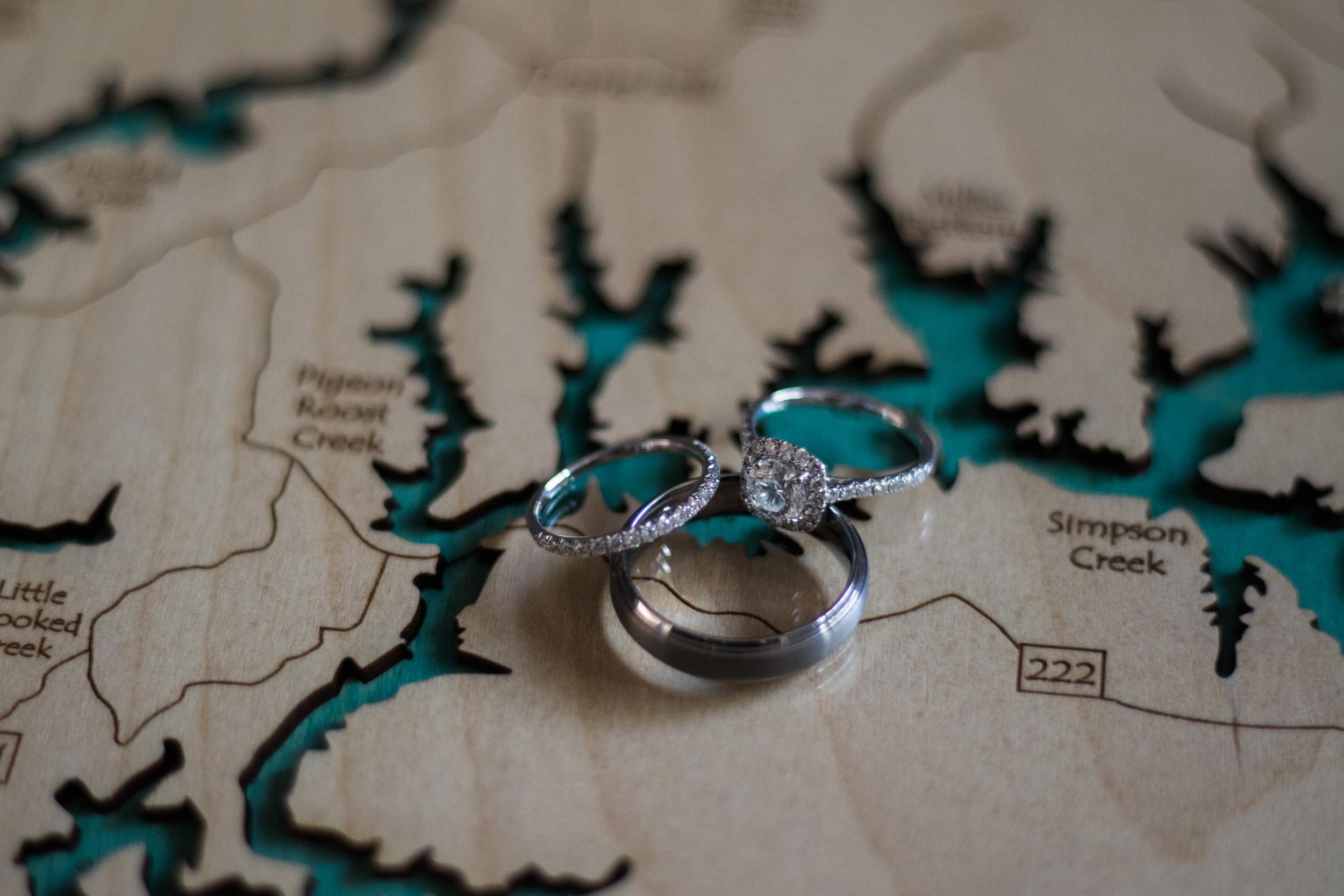 Wedding rings on wooden map | Smith Lake | Bremen, AL