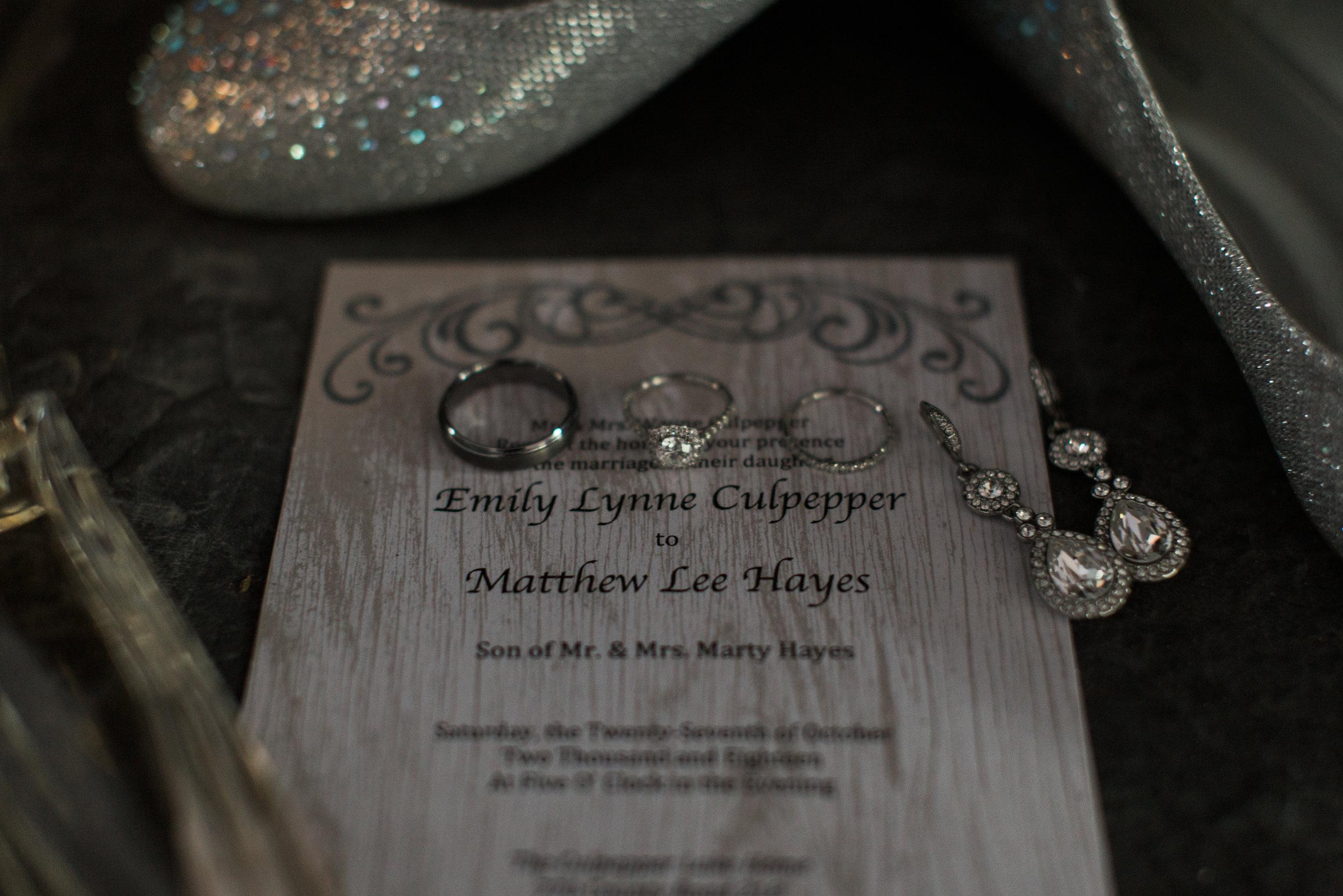 Wedding rings and invitation | Smith Lake | Bremen, AL