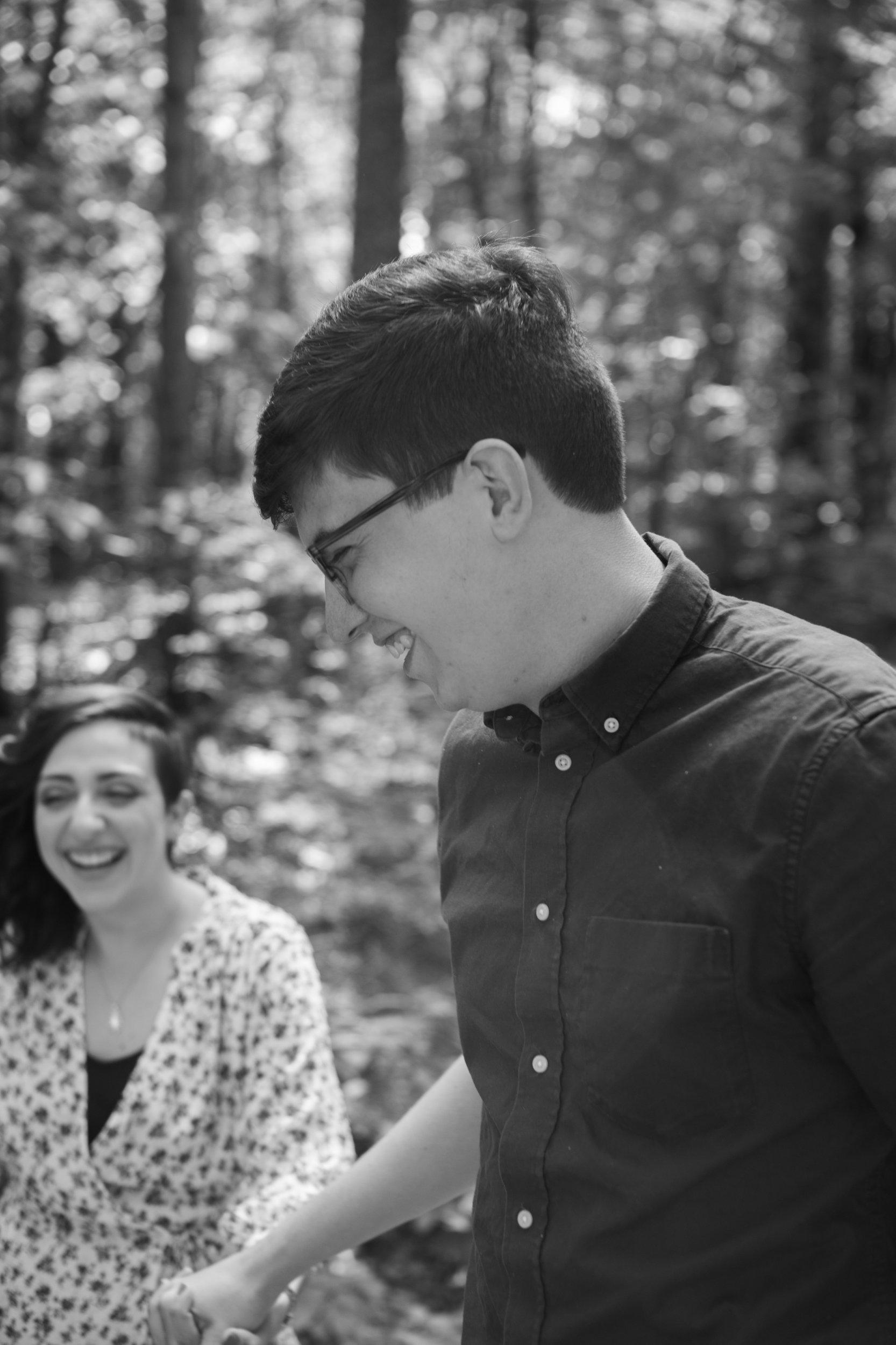 Moss Rock Preserve | Engagement Session | Black & White