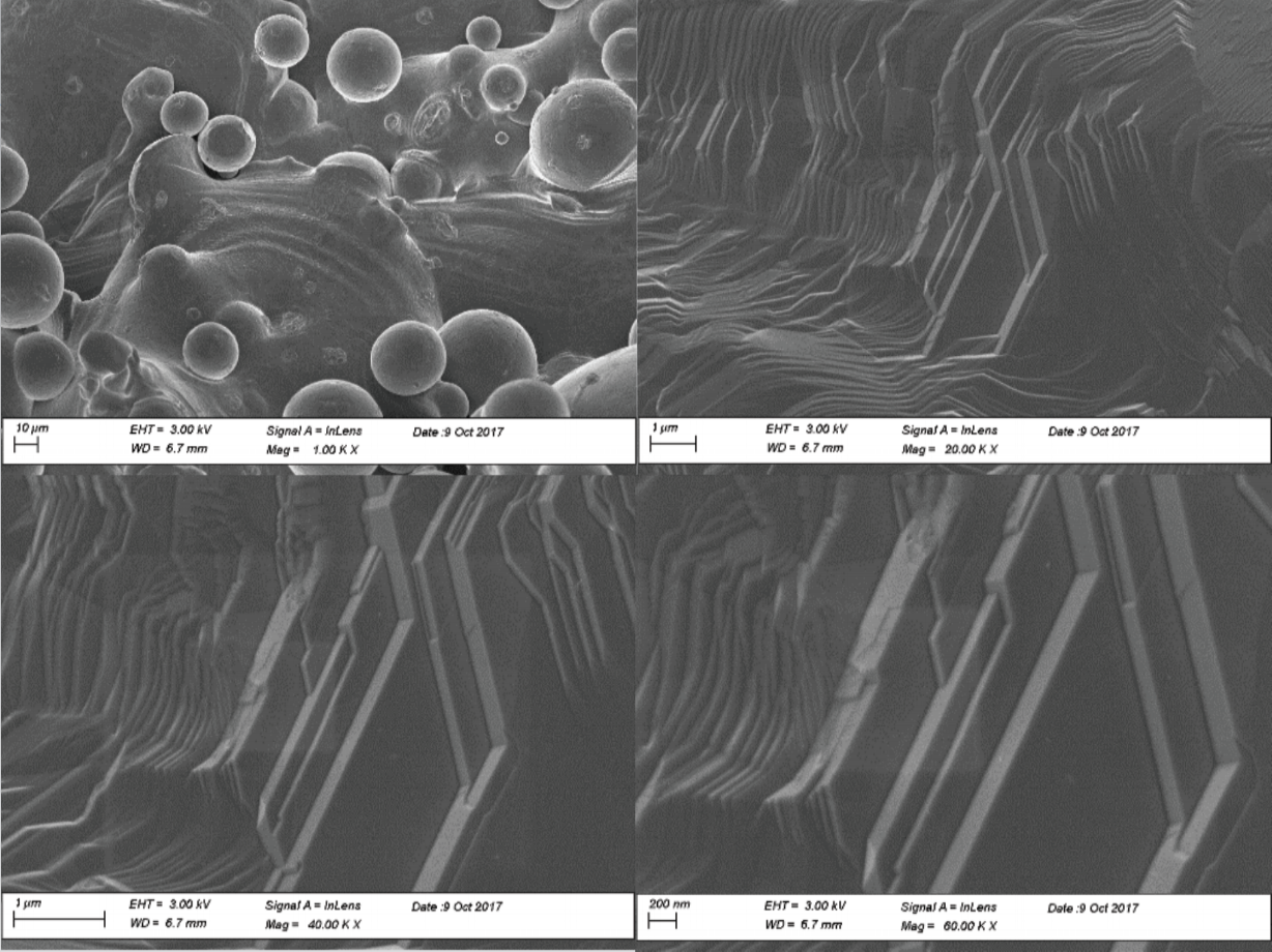 SEM Analysis: 1000, 20,000, 40,000 and 60,000x Magnification