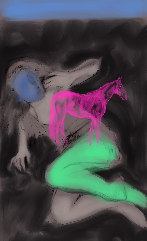 le cheval blanc, acrylic on canvas, 120x80cm