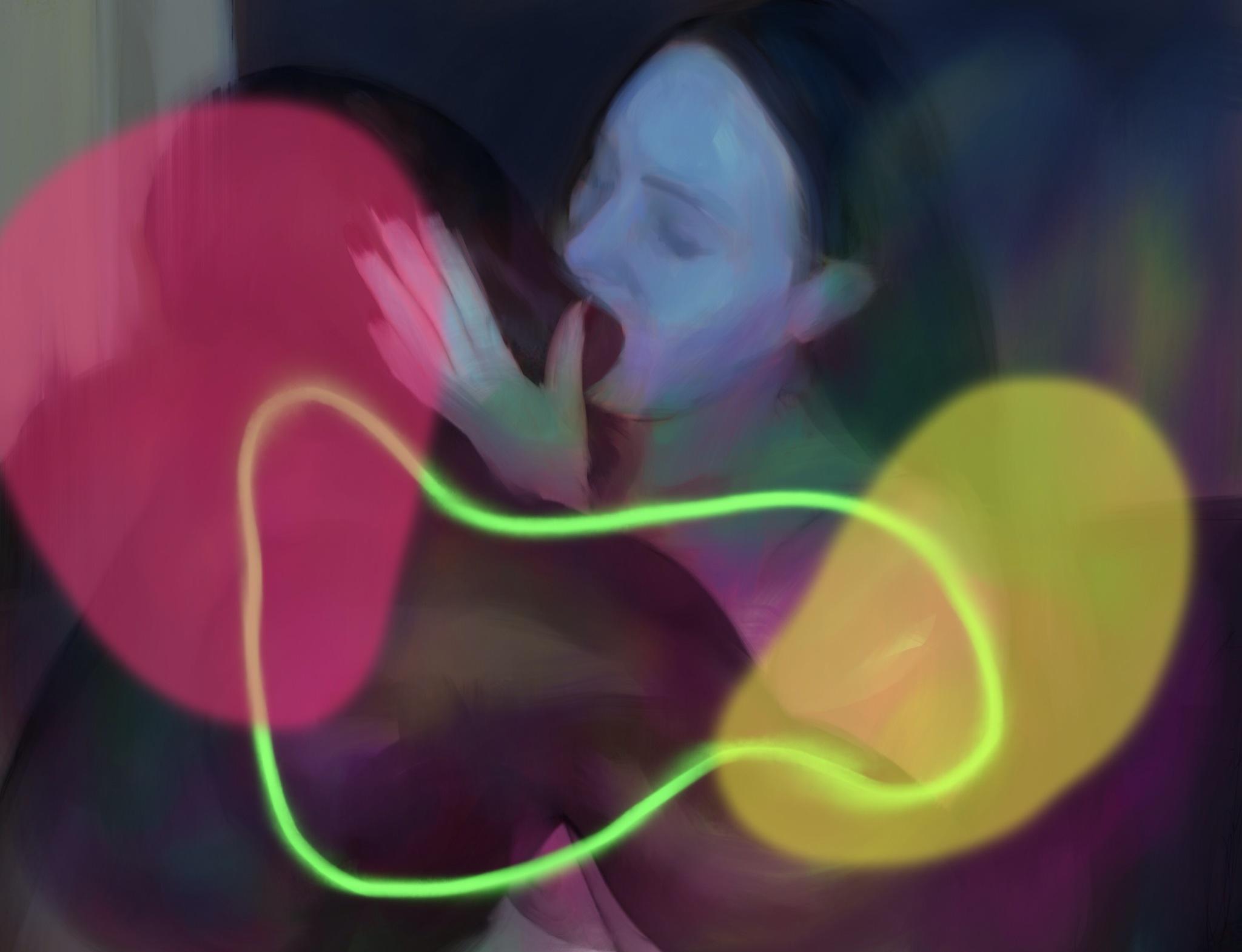 the last kiss, acrylic on canvas, 80x120cm