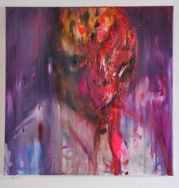 c'était le zaïre, oil on canvas, 50x50cm