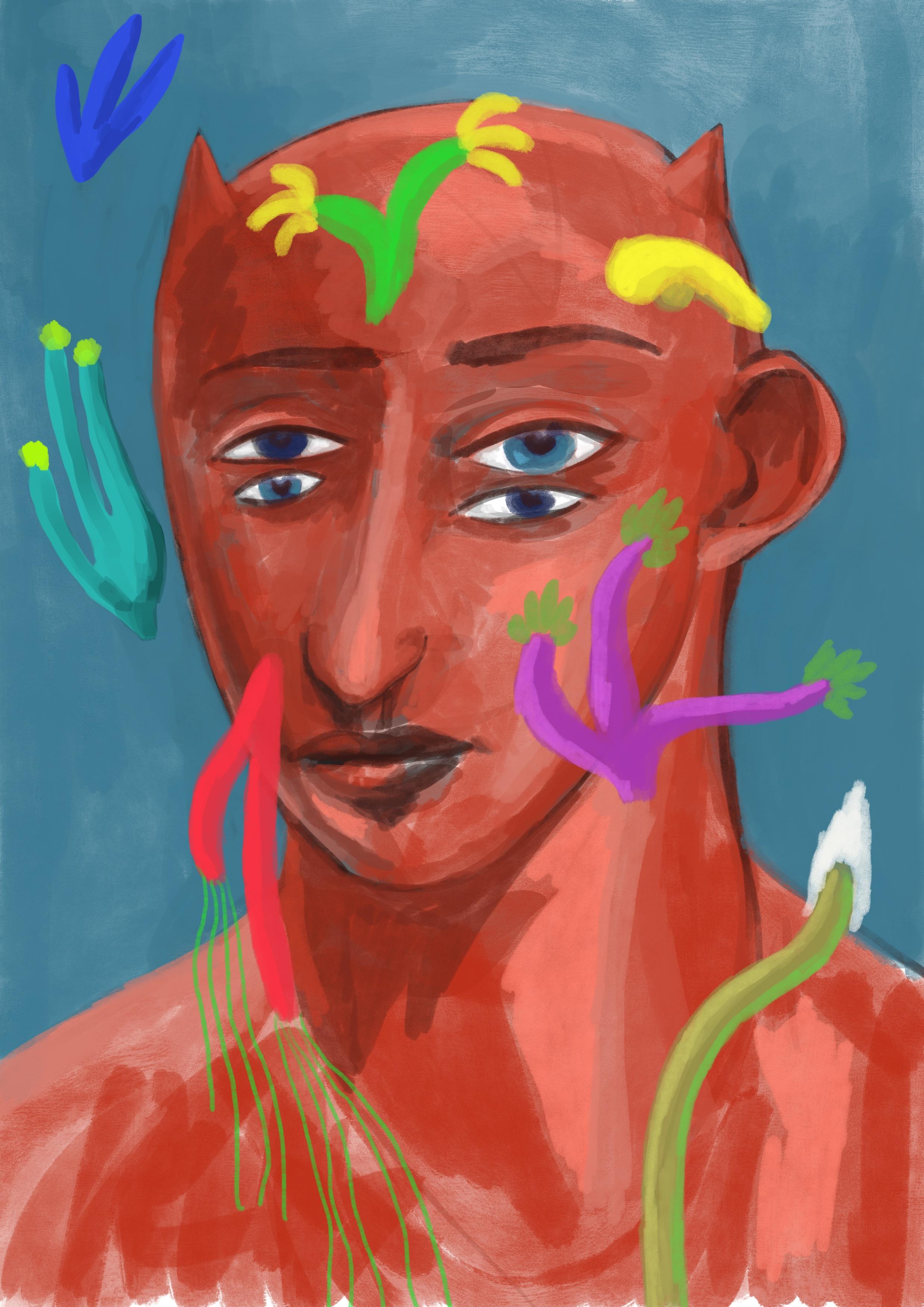 satyre, acrylic on canvas, 90x70cm