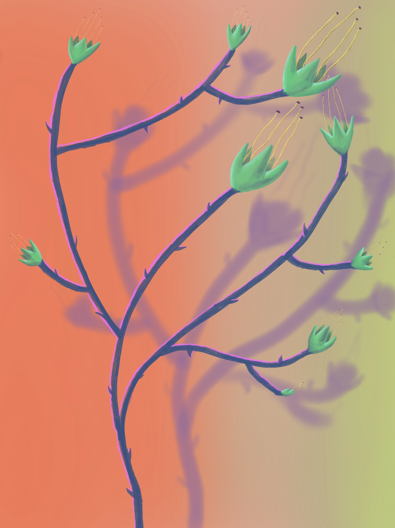 fleurs 4, acrylic on canvas, 45x60cm
