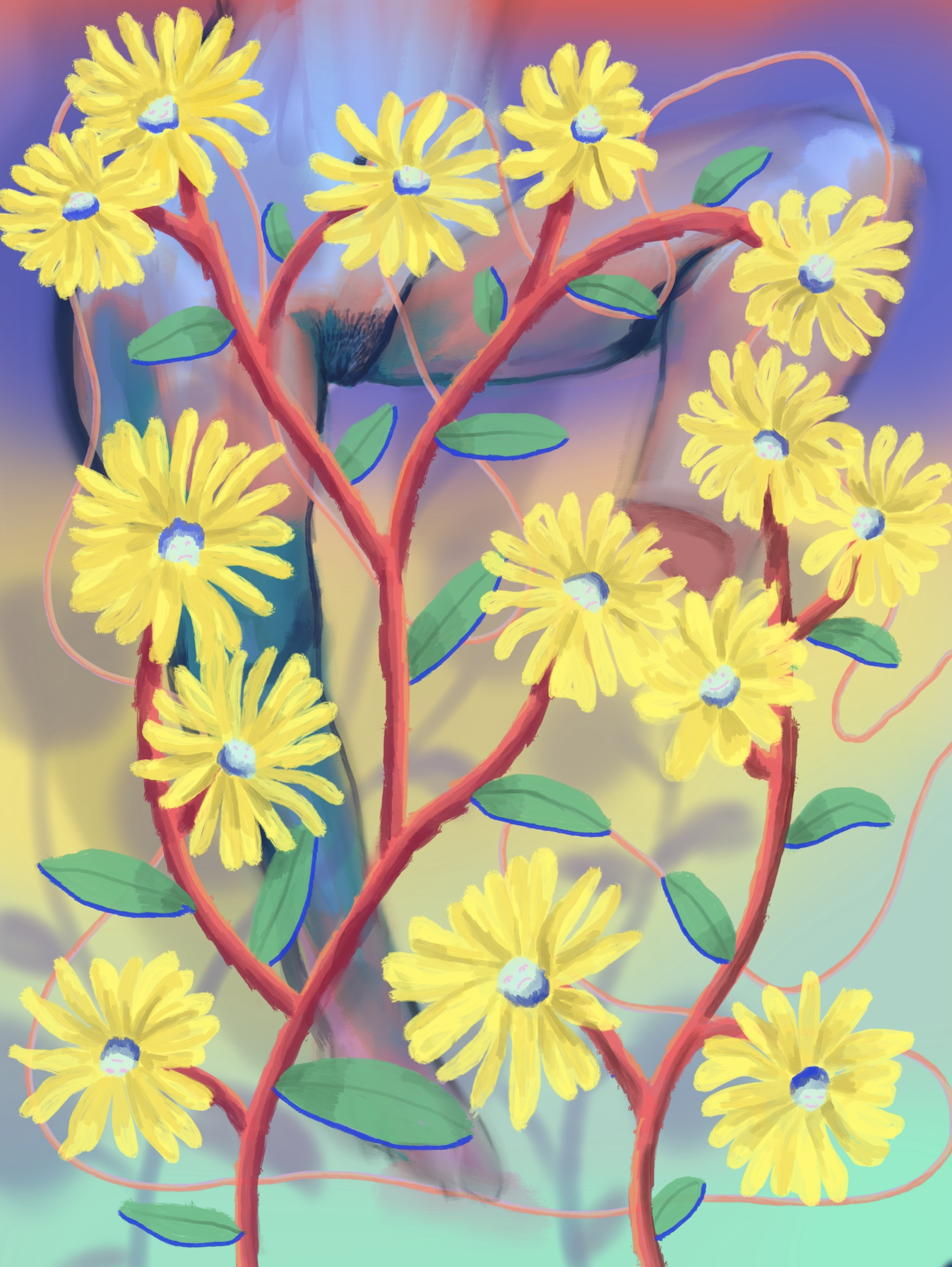 bouquet 2, acrylic on canvas, 90x120cm