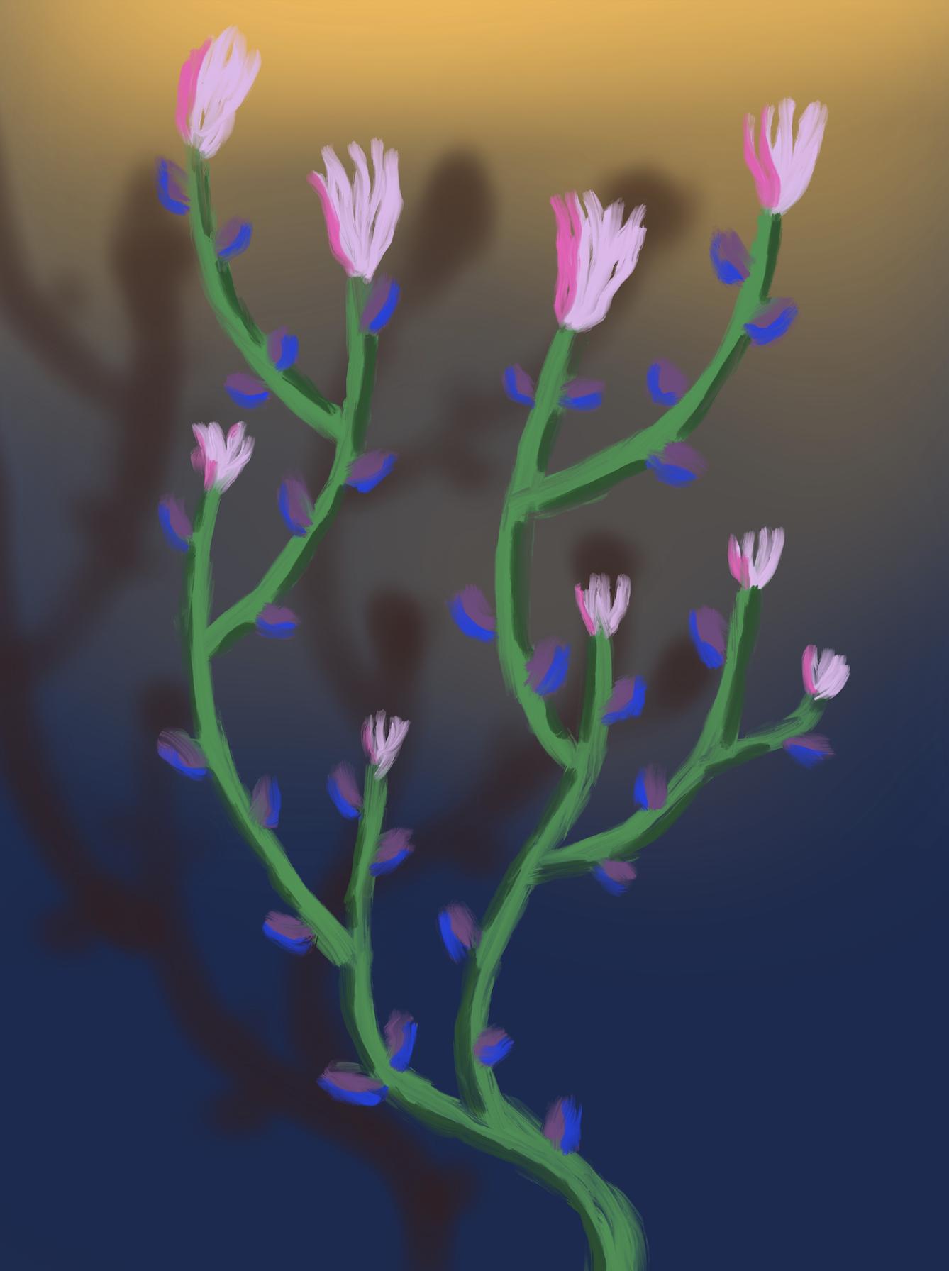 fleurs 7, acrylic on canvas, 45x60cm