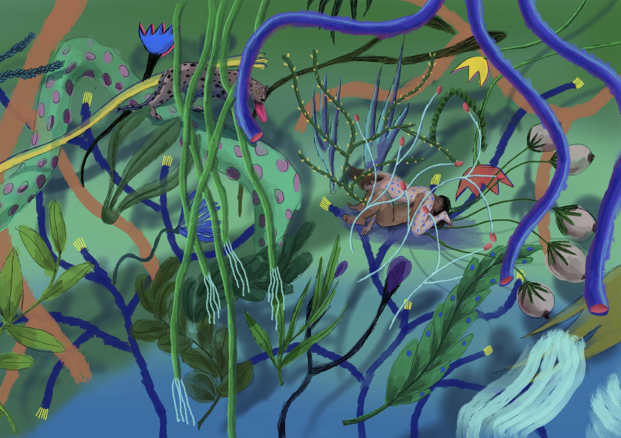 jardin d'éden 2, acrylic on canvas, 100x140cm