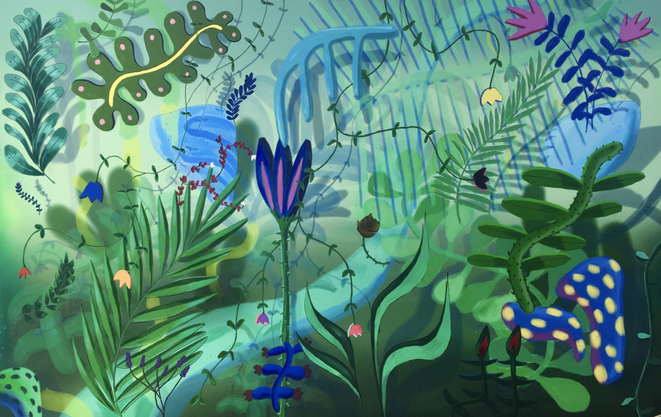 jardin d'éden 1, acrylic on canvas, 120x190cm