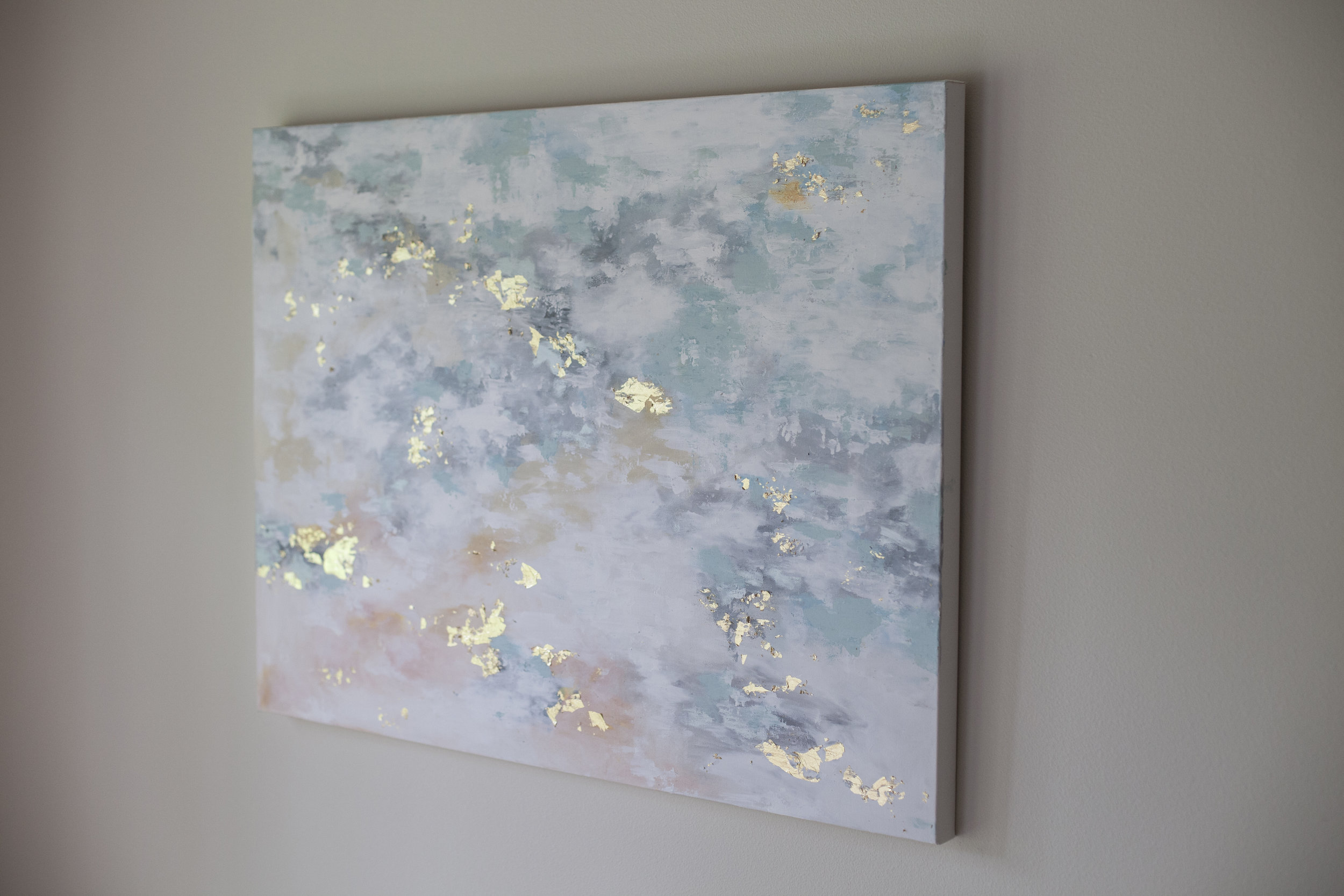 Original 30x40 painting, acrylic and gold leaf on canvas.