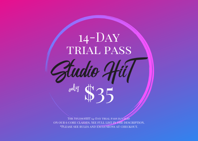 This 14-Day Trial Class Pass is perfect for those who are looking for their soul mate workout. This pass will grant you single access into each of our core classes. You'll love the variety and the convenience or your trial 14 day period. Classes in your trial period include:  ** Beginner Bungee  ** TurboKick Live  ** Zumba  ** Spin  ** Cardio Kickboxing  ** StudioHiiT Boot Camp  That is a 50% savings vs booking all of these classes separately! Rules and exclusions apply.  ***14-Day Trial pass is valid only on classes listed above. Trial pass is valid for multiple purchases. Trial pass classes can not be exchanged for higher tiered classes. All Trial pass purchases are final.