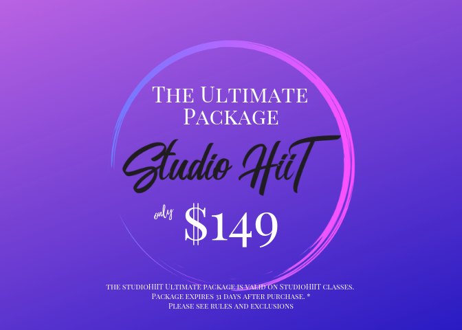 The ultimate package is for the ultimate fan and allows access into any class at any time. The Ultimate package is the only package that will auto renew each month until the member has cancelled. Packages can not be cancelled or refunded after 48 hours of purchase.    Your Ultimate Package Pass includes:  *Access into all of StudioHiiT classes and events.  *2 Guest Passes per week. 8 total for each month.   *Access to our New On Demand workout programs that you can do at home!  *1:1 Focus meetings, at the gym, with just you and your head trainer. Nutrition, performance, lifestyle or weight loss, our certified personal trainers are equipped and knowledgeable with the tools necessary to help you reach your goals.  *Group workouts with like minded individuals who are there with you to inspire, support, and cheer you on not only through every sweat dripping workout, but also through life's ups and downs. The relationships you build at StudioHIIT are irreplaceable.