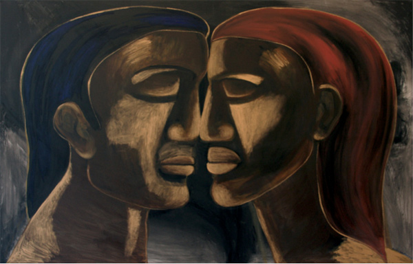 Hongi image from a painting by New Zealand artist Robyn Kahukiwa