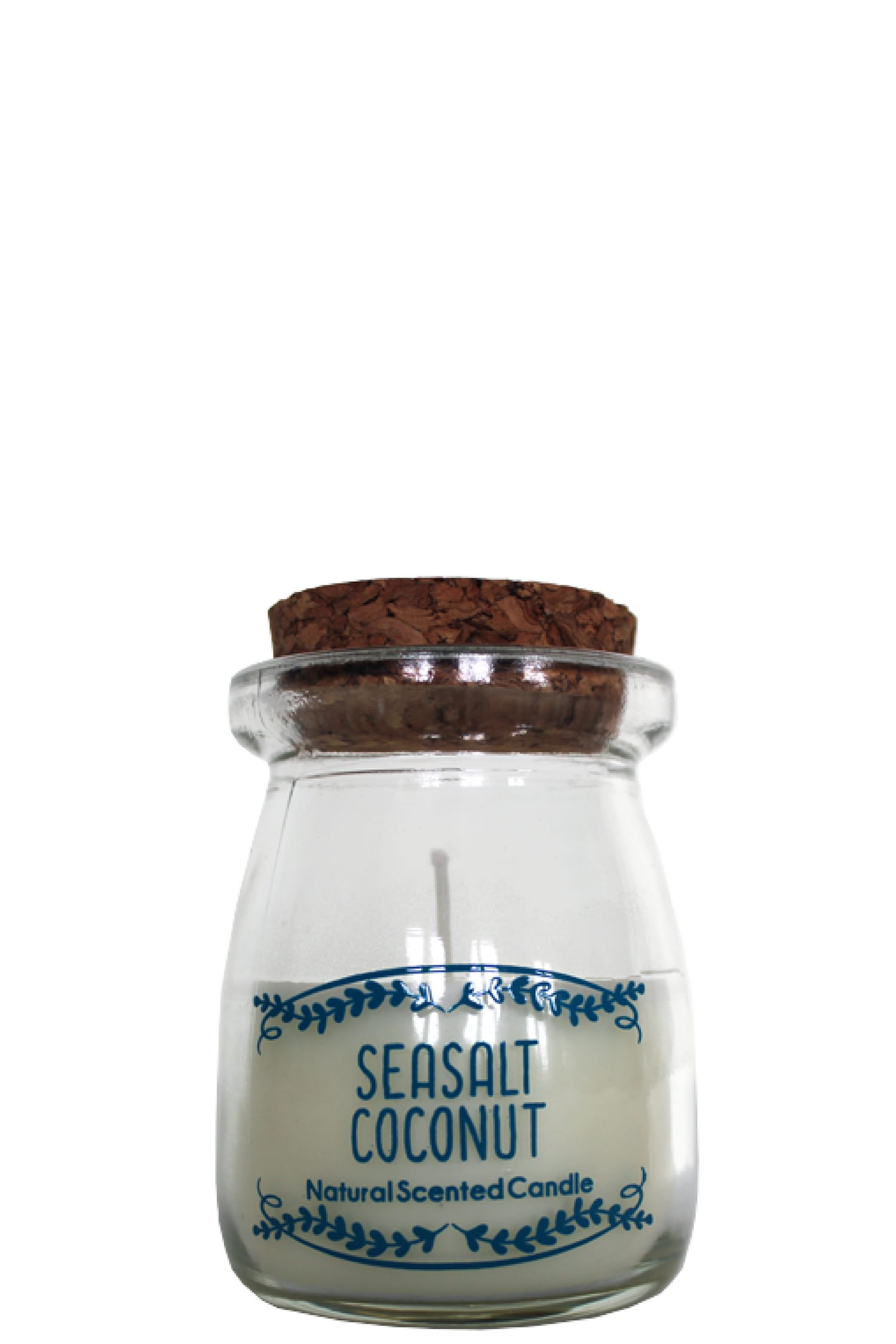 Seasalt Coconut Fragrance. A beautifully scented candle set within a mini mason style jar with a cork lid.