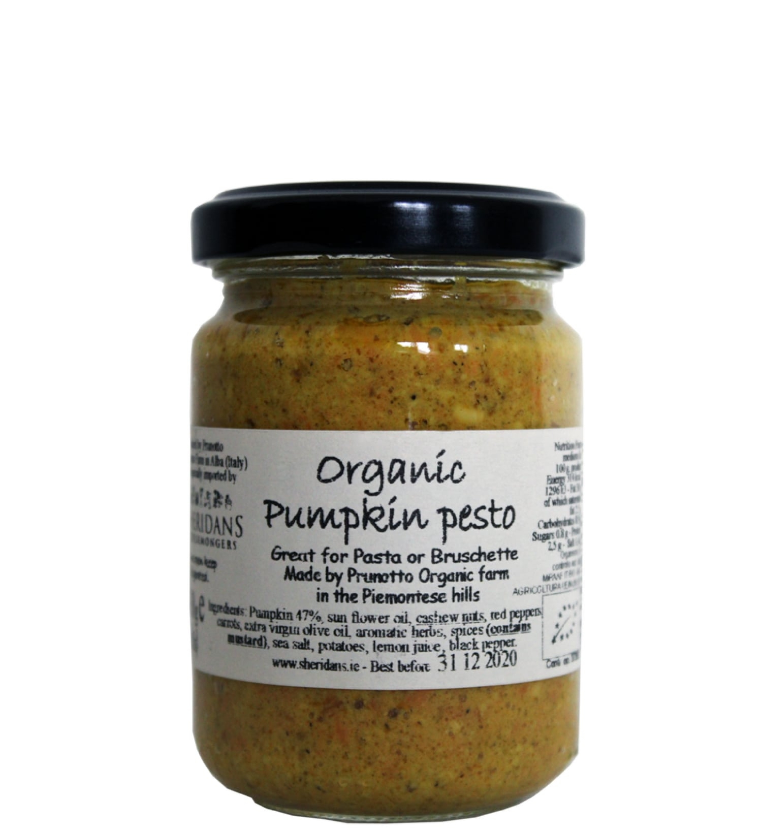 Organic Pumpkin Pesto made by Prunotto in the Piemontese hills in Italy.