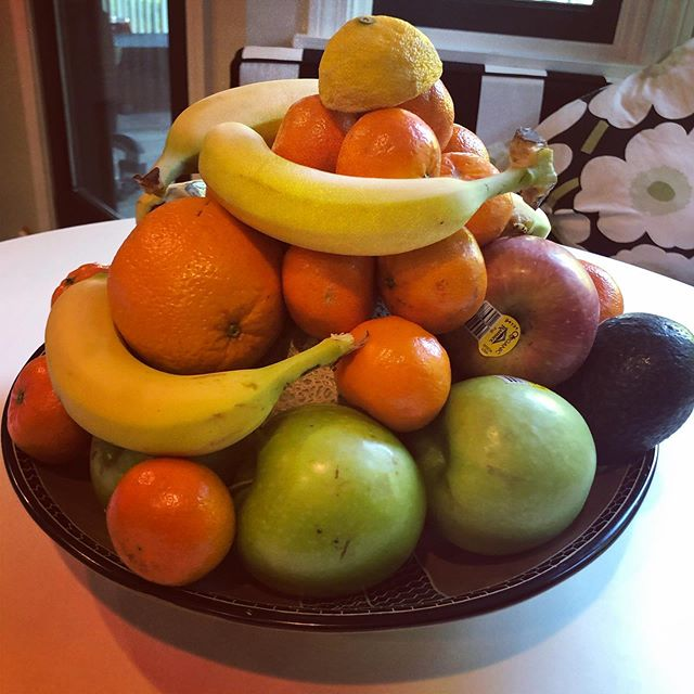Now that's a #fruit bowl! My daughter's creation and excuse to not unpack the groceries. She was too busy and clearly knows my soft spot. #funwithfood #daughters #feelingproud #weekendfood