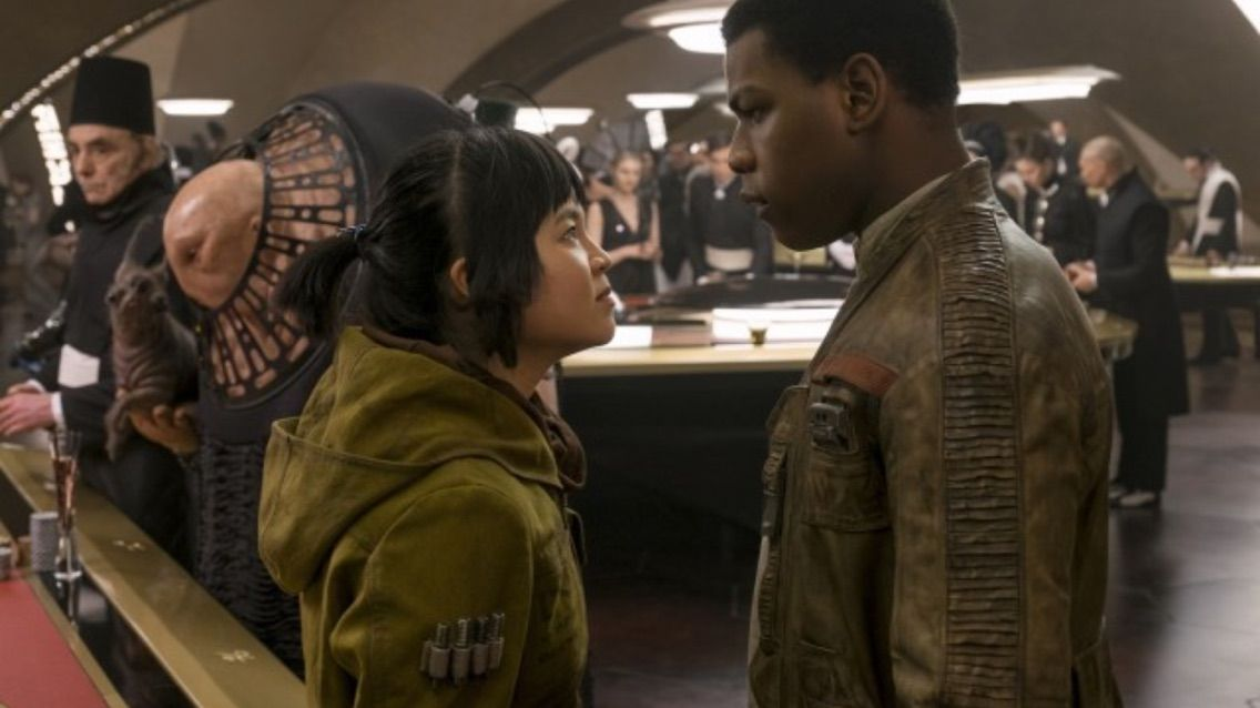 Rose (Kelly Marie Tran) and Finn (John Boyega)