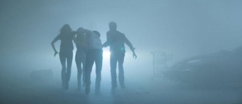 Outside among the mist