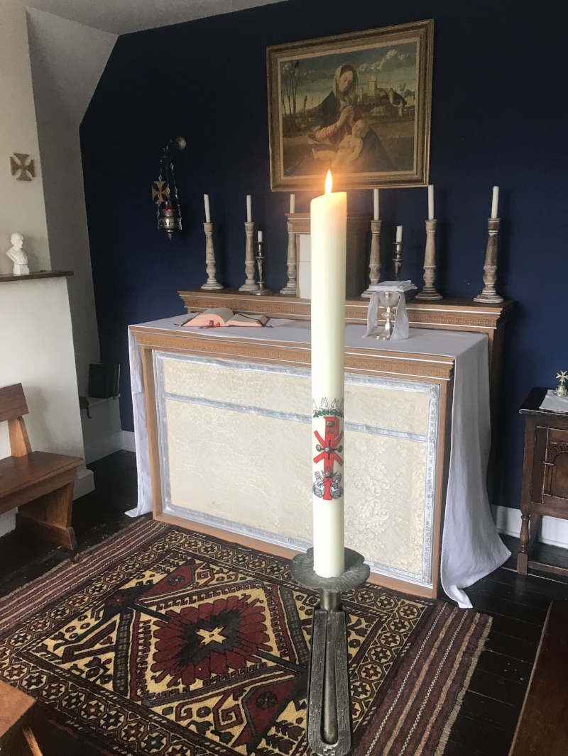 The Paschal candle in the chapel at Wolvercote