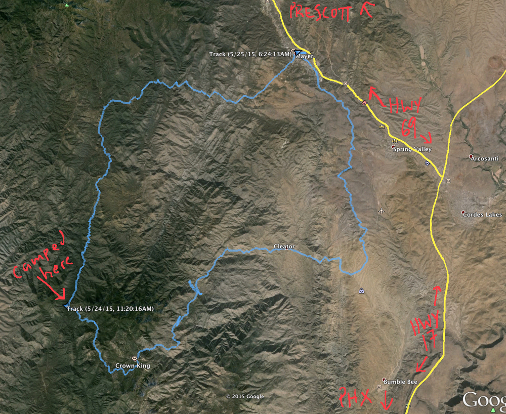 Overview of the route. My track is the blue one.