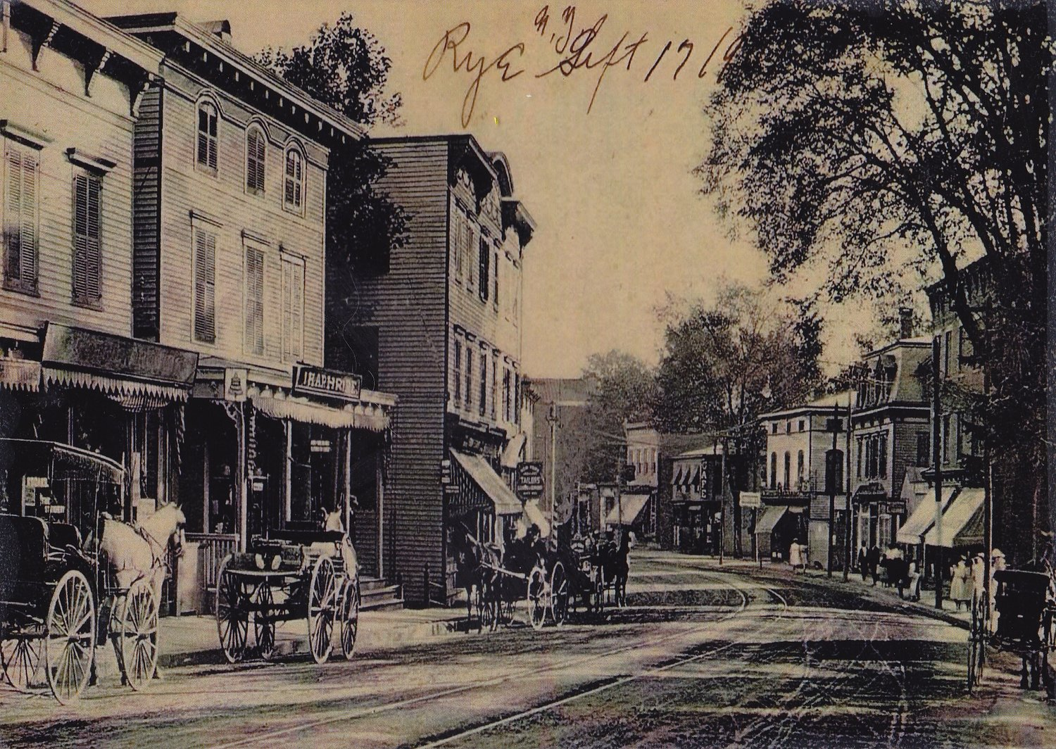 View down Purchase Street c. 1900