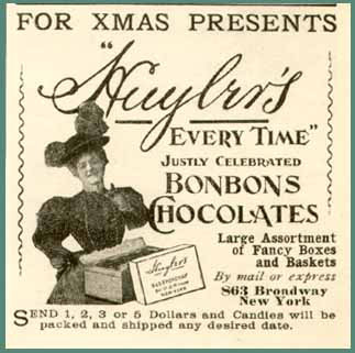 An 1897 advertisement for Huyler's Chocolate Bonbons