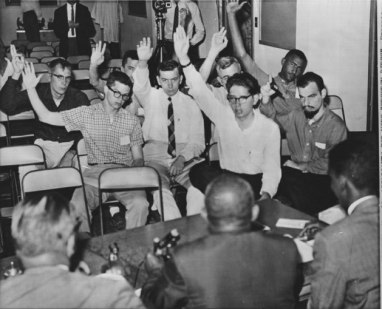 Peter Sterling in his CORE training class (Congress for Racial Equality) May 1961