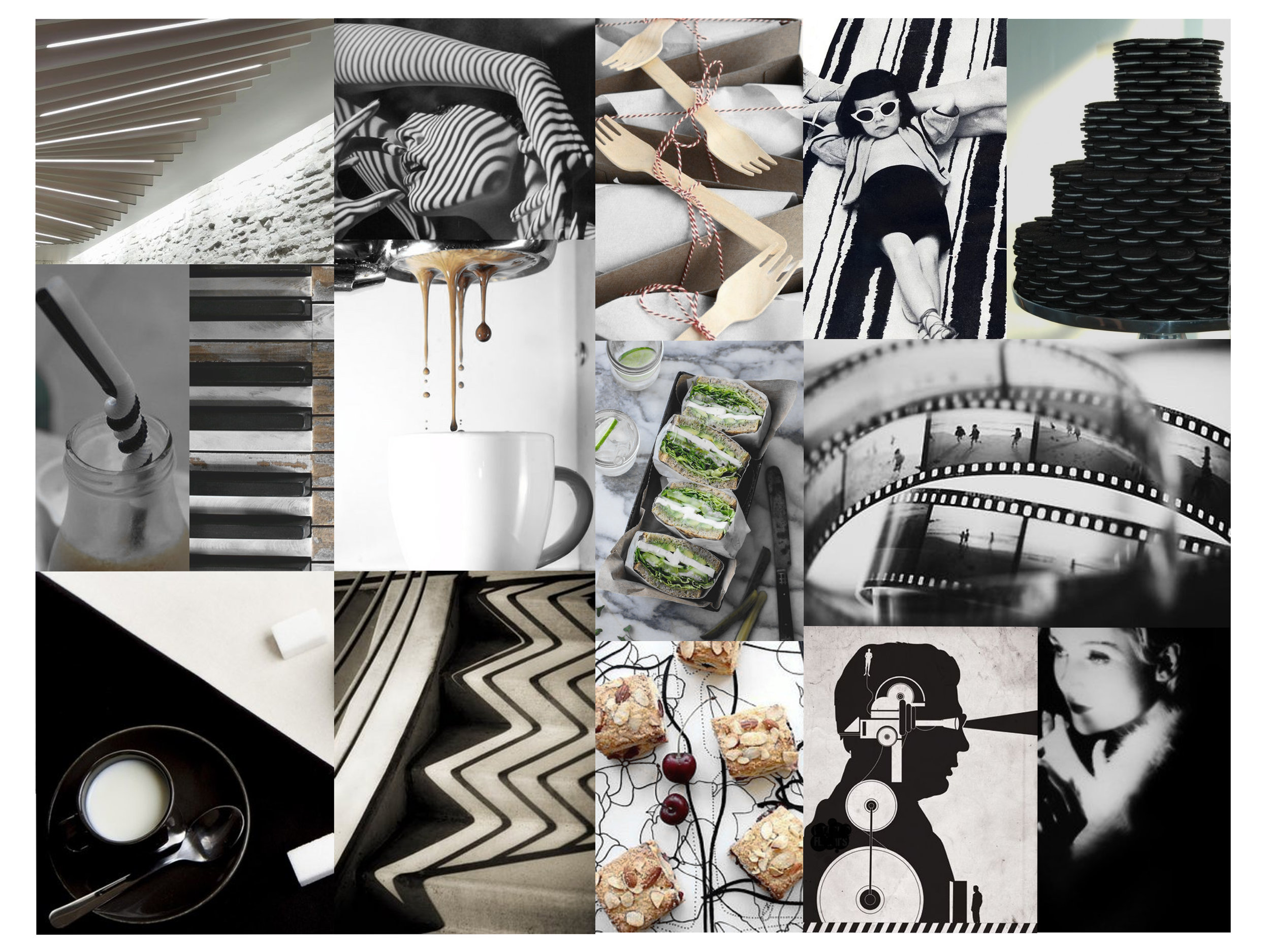 KIOSK CAFE - THE CAFE KIOSK IS MEANT TO CAPTURE THE SPIRIT OF BLACK AND WHITE FILM