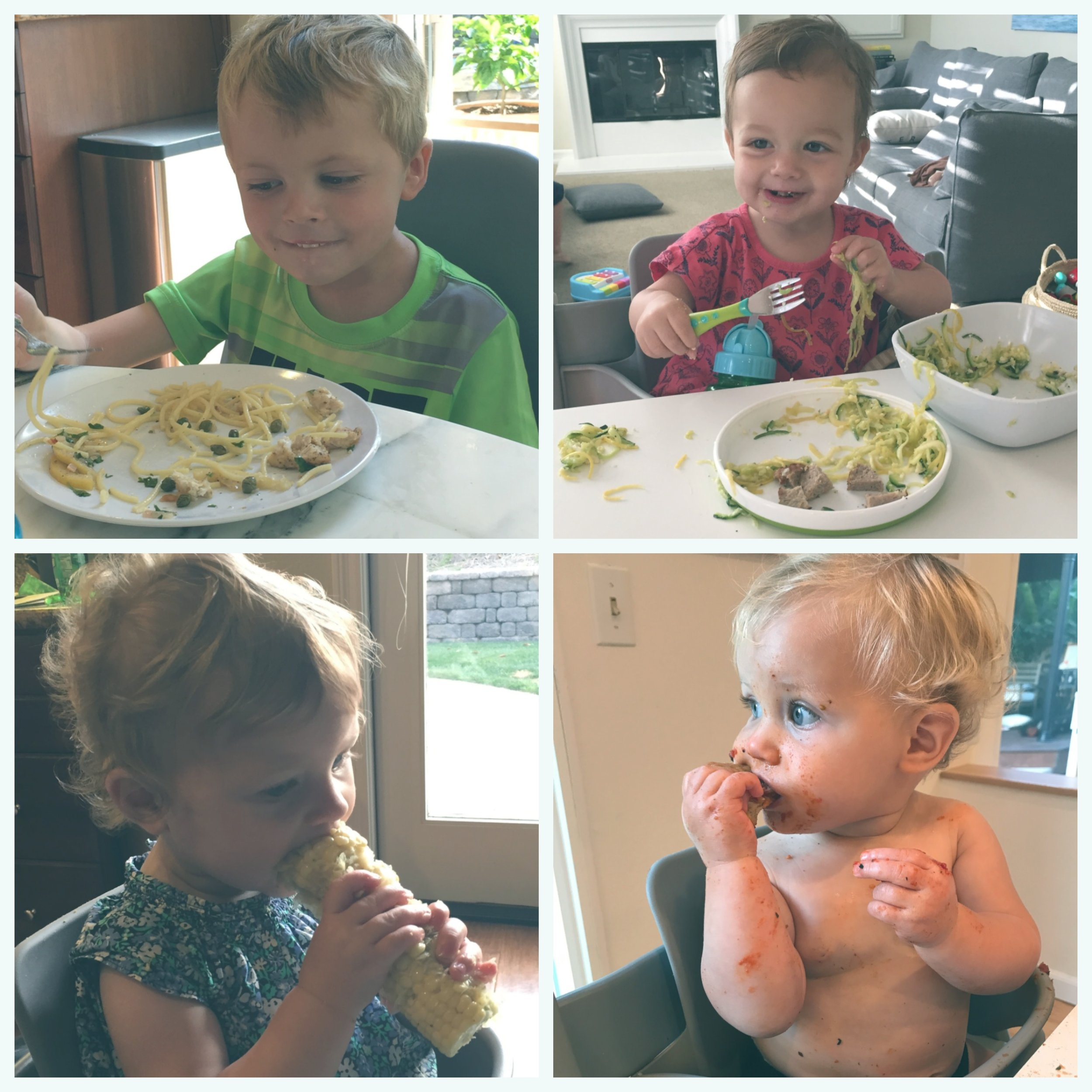 Four very different eaters at the dinner table.