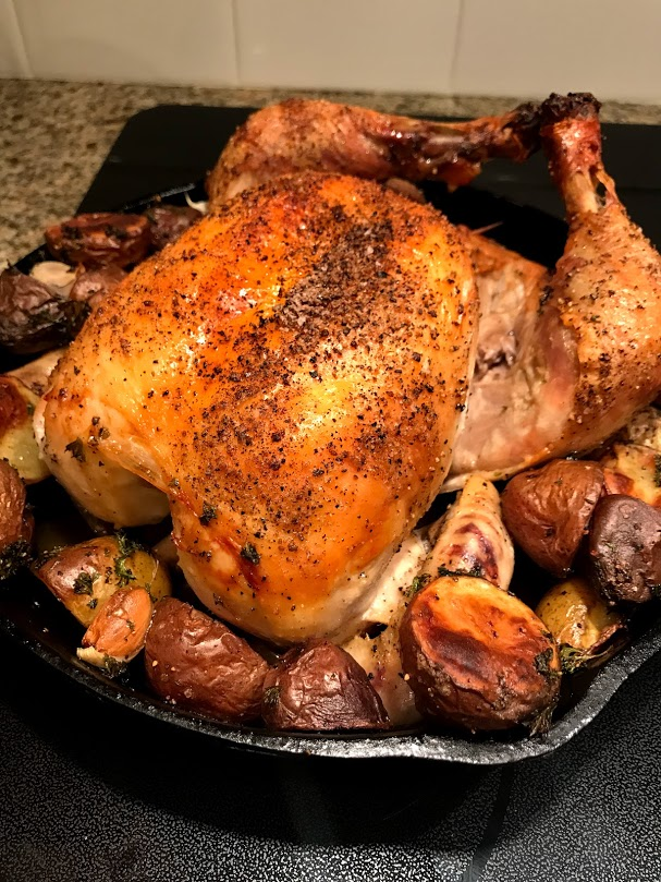 Perfectly roasted chicken in 45 minutes.