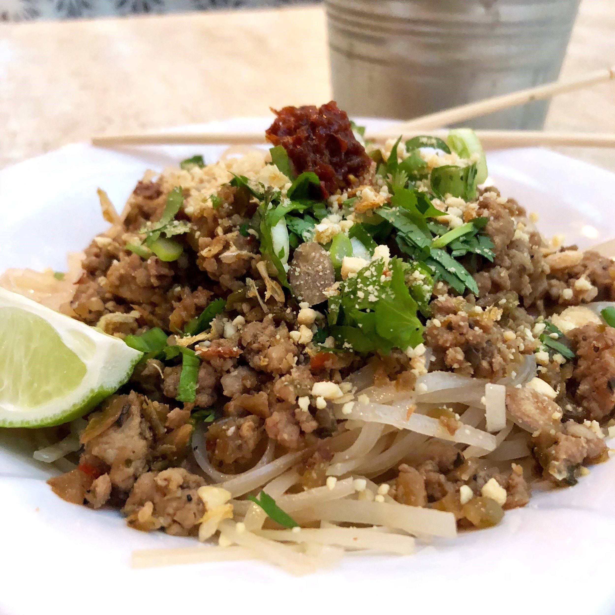 Dan Dan Noodles  or dandan mian is served dry, not soupy and packs a tingly Sichuan peppercorn punch.