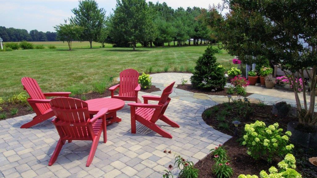Outdoor sitting areas, with new landscape. Techo-Bloc  Parisien Rectangle and Square Paver, Shale Grey color. Easton MD.jpg