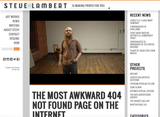 Notice here how Steve Lambert features lots of possible redirection links on his 404 page.