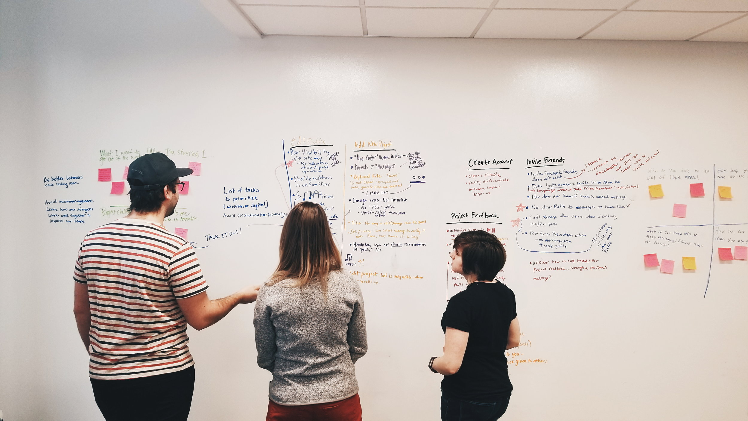 Organizing findings from our evaluation of BounceTribe's existing website.