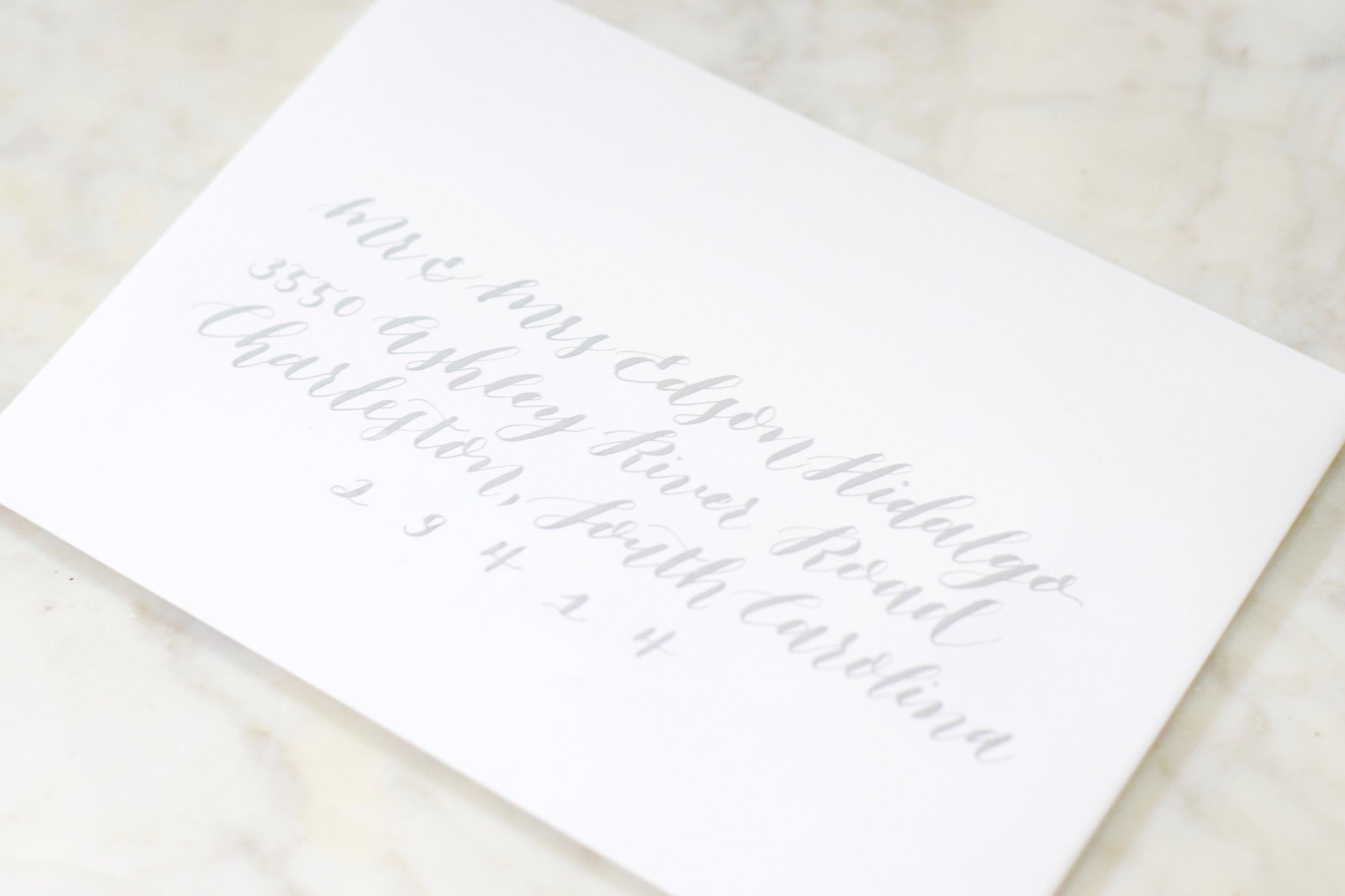 Envelope Calligraphy - Outer Envelope $3.50 eachInner Envelope $2 eachReturn Address $2.50 each