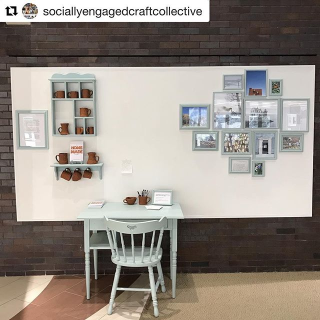 #Repost from the @sociallyengagedcraftcollective ・・・ The SECC Ferment exhibition is almost open at @minneapolis_comm_tech_college for @nceca 🎉 This image is of the @thehomemadeexchange by @juliettewalker and @devinshepherd. It is a participatory project that invites you to share a drawing or writing about your favorite mug. They also have a few copies of their recent book. Join us for the opening reception on Thursday from 5-9pm. #sociallyengagedart #nceca #nceca2019 #art #craft #exhibition