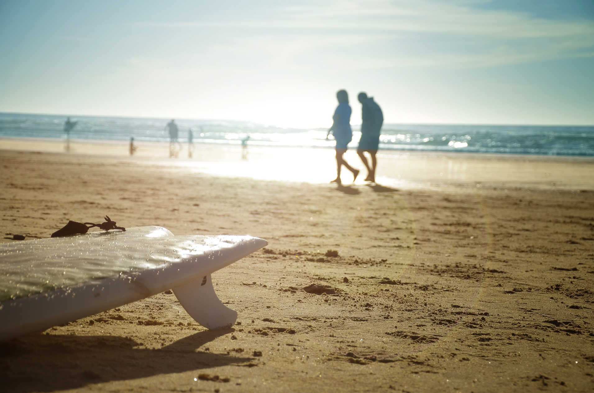 Surf Board, Couple Walking on Beach, Encinitas Walking Tour