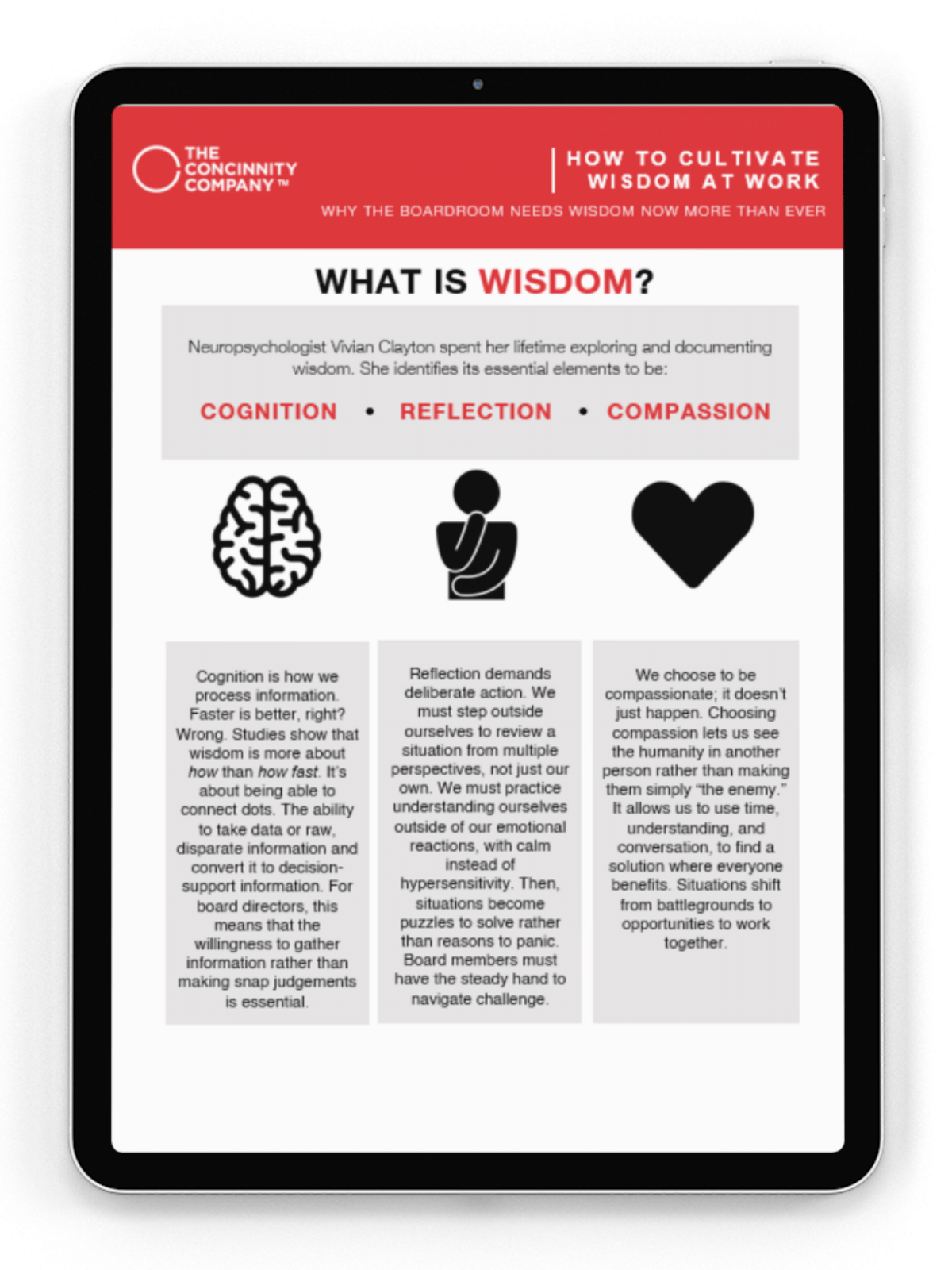 Does Your Boardroom Cultivate Wisdom?   We created this guide with 8 simple thoughts from analyzing Neuropsychologist's Vivian Clayton's 3 essential elements of wisdom:  • Cognition  • Reflection  •Compassion