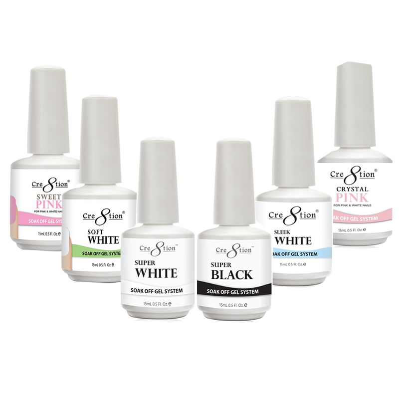 Cre8tion Soak Off Gel - Super Colors    -  Soak Off Gel Crystal Pink 0.5 oz - Soak Off Gel Super Black 0.5 oz - Soak Off Gel Super White 0.5 oz - Soak Off Gel Sleek White 0.5oz - Soak Off Gel Sweet Pink 0.5 oz - Soak Off Gel Soft White 0.5 oz