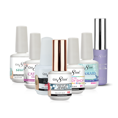 Soak Off Gel Collection 1    -  Soak Off Gel Mermaid 0.5oz - Soak Off Gel Cat Eye Chameleon 0.5 oz - Soak Off Gel Cat Eye Glaze 0.5 oz - Soak Off Gel Cat Eye Jade 0.5 oz - Soak Off Gel Cat Eye Smoke 0.5 oz. - Soak Off Gel Jewel 0.5 oz - Soak Off Gel Candy Shop 0.5 oz - Soak Off Gel Platinum After Party Gel 0.5 oz - Soak Off Gel Stone 0.5 oz - Soak Off Gel Detailing Nail Art 0.33 oz