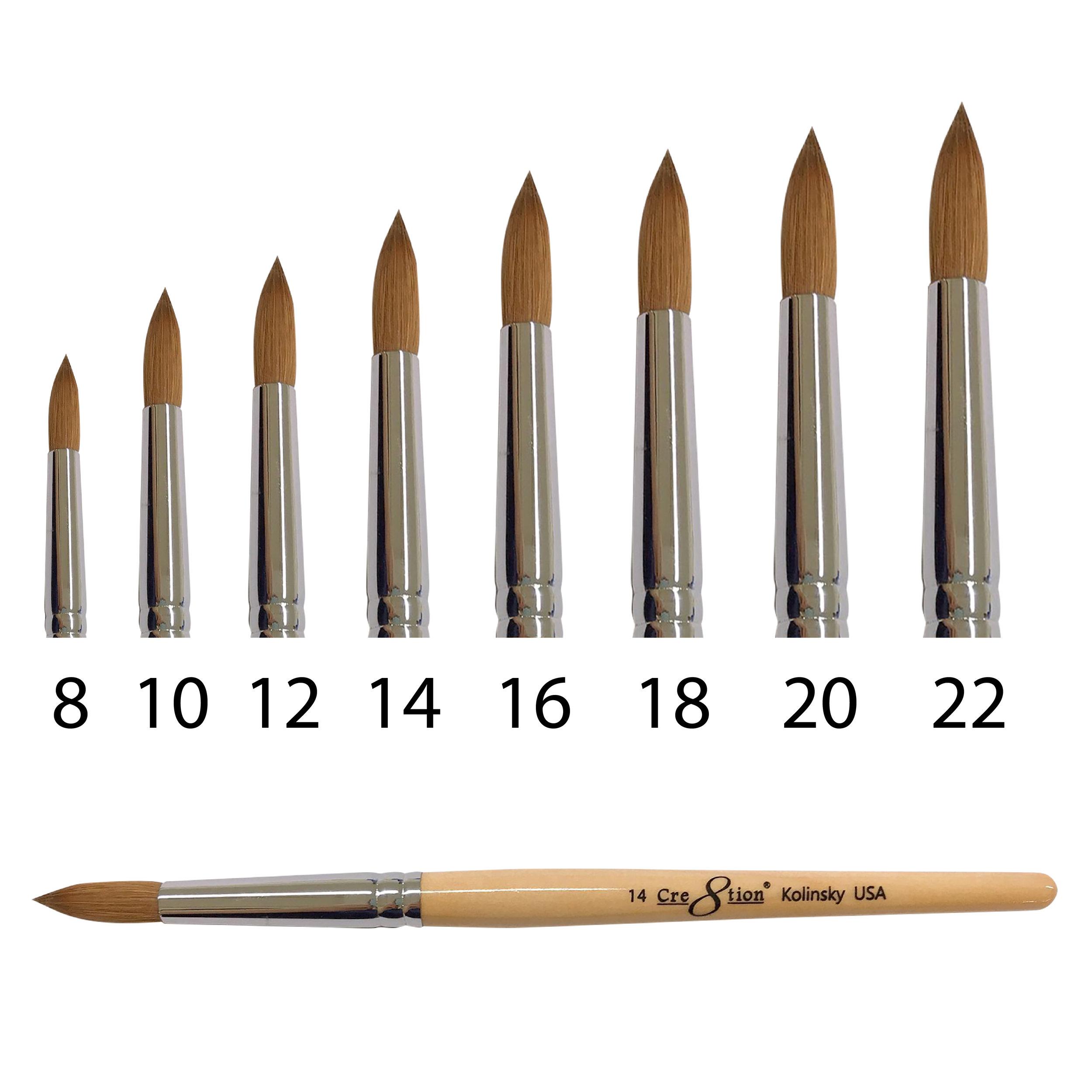 Kolinsky Acrylic Brush B  150 pcs/box, 600 pcs/case  12134 - Size 08 12135 - Size 10 12136 - Size 12 12137 - Size 14 12138 - Size 16 12139 - Size 18 12140 - Size 20 12141- Size 22