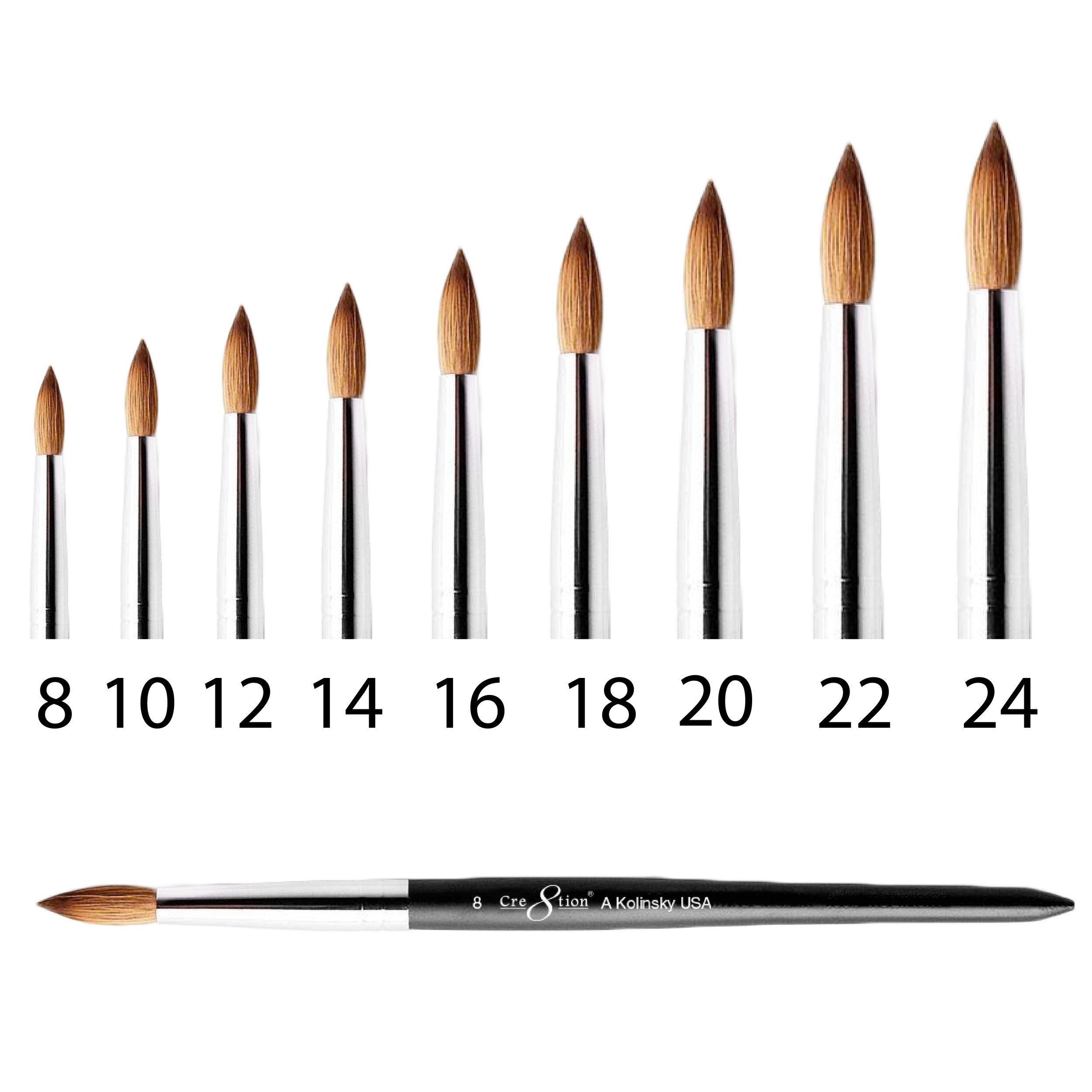 Kolinsky Acrylic Brush A  150 pcs/box, 600 pcs/case  12155 - Size 08 12156 - Size 10 12157 - Size 12 12158 - Size 14 12159 - Size 16 12160 - Size 18 12161 - Size 20 12162 - Size 22 12163 - Size 24