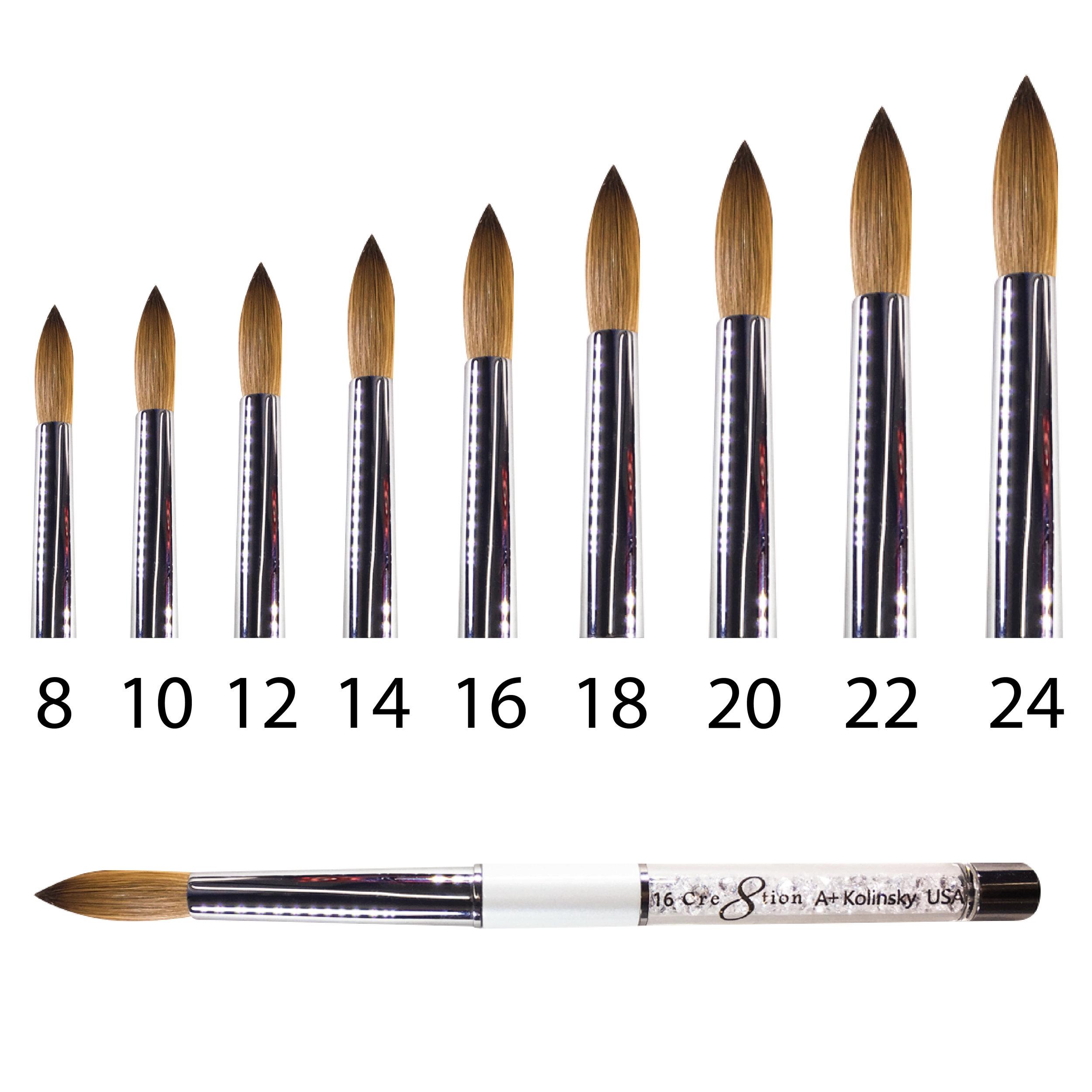 Kolinsky Acrylic Brush A+  150 pcs/box, 600 pcs/case  12146 - Size 08 12147 - Size 10 12148 - Size 12 12149 - Size 14 12150 - Size 16 12151 - Size 18 12152 - Size 20 12153 - Size 22 12154 - Size 24